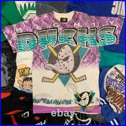 Vintage 90s NHL Mighty Ducks All Over Print Magic Johnson Tee Shirt M
