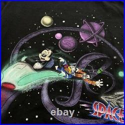Vintage 90s SPACE MOUNTAIN T Shirt Walt Disney World Mickey Mouse Goofy Daffy