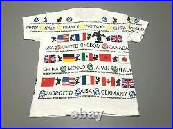 Vintage 90s Walt Disney World Epcot Center All Over Print Flag T-Shirt Size XL