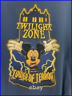 Vintage 90s Walt Disney World Mickey Mouse Tower Of Terror T Shirt Rare