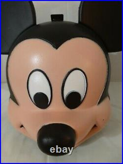 Vintage Aladdin Walt Disney Mickey Mouse Head Plastic Lunch Box With Orig Thermos