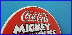 Vintage Coca Cola Porcelain Mickey Mouse Gas Beverage Soda Walt Disney Pump Sign