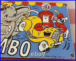 Vintage Diamond D-x Gasoline Porcelain Sign Walt Disney Dumbo Gas Oil Pump Plate
