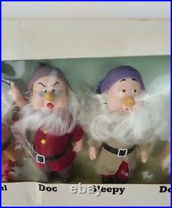 Vintage Disney Bikin Walt Disney Seven Dwarfs Figures Snow White In Original Box