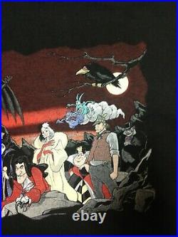 Vintage Disney Villains T Shirt WDW 90s Cruella de Vil Scar Chernabog Rare XXL