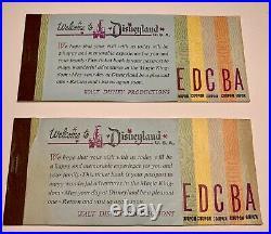 Vintage Disneyland Consecutive Serial # Original Walt Disney Ticket Books 1970