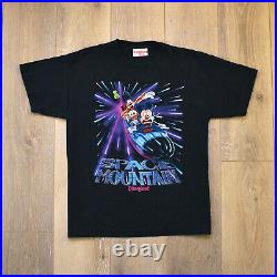 Vintage Disneyland Space Mountain Shirt Large Mickey Goofy Donald Walt Disney