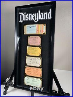 Vintage Disneyland Ticket Book A-E Coupon Ride Framed Original Walt Disney 1970s