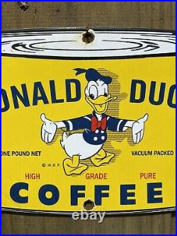 Vintage Donald Duck Coffee Can Porcelain Sign Walt Disney Oil Lube Gas Station