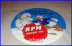 Vintage Donald Duck Standard RPM Gasoline 12 Metal Walt Disney Snowman Oil Sign