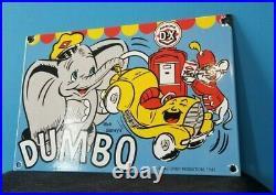 Vintage Dumbo Gas Motor Oil Plate DX Diamond Gasoline Porcelain Walt Disney Sign