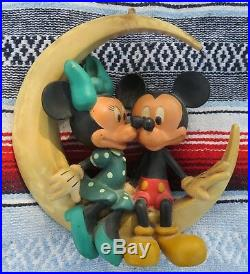 Vintage Mickey & Minnie Mouse on Moon Old Resin Hanging Sculpture Walt Disney
