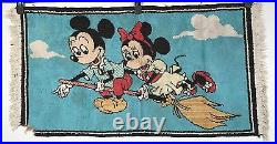 Vintage Mickey Mouse Rug Mickey and Minnie on a Broom Walt Disney 40x21