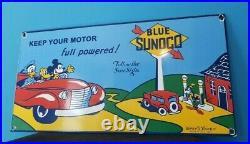 Vintage Mickey Mouse Sunoco Gasoline Porcelain Gas Auto Station Walt Disney Sign