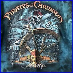 Vintage Pirates Of The Caribbean Walt Disney Tie Dye Shirt Size XL Vtg Hipster