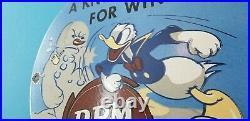 Vintage RPM Motor Oil Porcelain Gas Walt Disney Service Station Pump Plate Sign