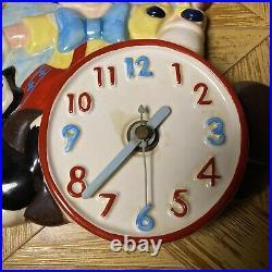 Vintage Schmid Walt Disneys Pinocchio Hand Painted Wall Clock. Rare! (works!)
