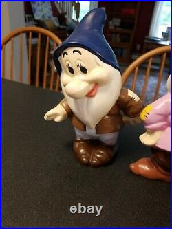 Vintage Snow White & The Seven Dwarfs Ceramic Figurine Set Walt Disney complete