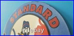 Vintage Standard Gasoline Porcelain Donald Duck Walt Disney Service Pump Sign