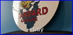 Vintage Standard Gasoline Porcelain Gas Star Perform Pinocchio Walt Disney Sign