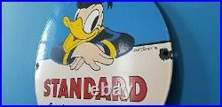 Vintage Standard Gasoline Porcelain Walt Disney Donald Duck Service Station Sign