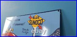 Vintage Sunoco Gasoline Porcelain Gas Auto Station Mickey Mouse Walt Disney Sign