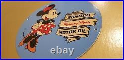 Vintage Sunoco Gasoline Porcelain Minnie Mouse Walt Disney Gas Service Sign