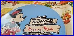 Vintage Sunoco Gasoline Porcelain Walt Disney Minnie Mouse Gas Oil Service Sign