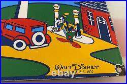 Vintage Sunoco Gasoline Porcelain Walt Disney Sign Gas Station Oil Mickey Mouse