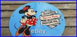 Vintage Sunoco Motor Oil Porcelain Minnie Mouse Walt Disney Gas Service Sign