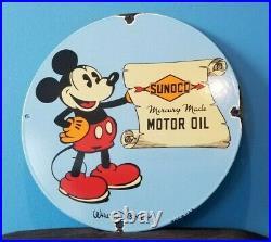Vintage Sunoco Motor Oils Porcelain Mickey Mouse Walt Disney Gas Service Sign