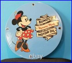 Vintage Sunoco Motor Oils Porcelain Minnie Mouse Walt Disney Gas Service Sign