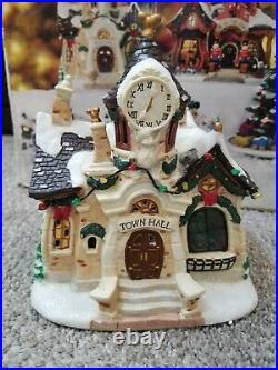 Vintage! WALT DISNEY Brass Key 9 PC Collectible Porcelain CHRISTMAS VILLAGE SET