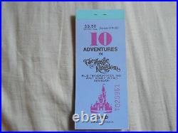 Vintage WALT DISNEY WORLD Magic Kingdom 10 Adventures Ticket Book 1979 COMPLETE