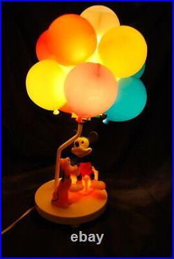 Vintage Walt Disney Cartoon Mickey Mouse Goofy Balloon Lamp Night Light Works