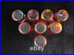 Vintage Walt Disney Cinderella Drinking Glasses Complete Set of 8 VERY GOOD COND