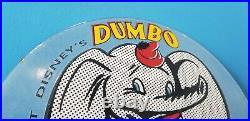 Vintage Walt Disney D-x Gasoline Porcelain Dumbo Service Station Pump Plate Sign