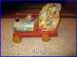 Vintage Walt Disney Donald Duck Pull Toy Choo Choo By Fisher Price
