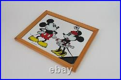Vintage Walt Disney Mickey & Minnie Mouse Mirror Wall Picture Made in England