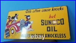Vintage Walt Disney Porcelain Mickey Mouse Sunoco Gasoline Motor Oil Sign 24