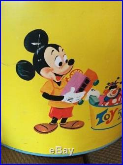 Vintage Walt Disney Productions Litho Picture Metal Toy Tub Mickey Minnie Pluto