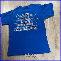 Vintage Walt Disney Space Mountain T-Shirt Mickey Mouse Mens Size Large Blue