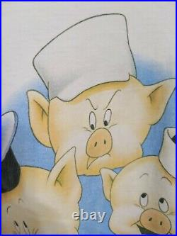 Vintage Walt Disney Three Little Pigs Movie Promo T Shirt Size XL Single Stitch