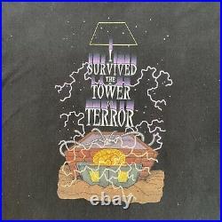 Vintage Walt Disney Tower Of Terror T-Shirt Mickey Mouse Mens Size XL Black
