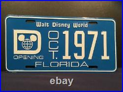 Vintage Walt Disney World Pre-Opening Oct 1971 License Plate