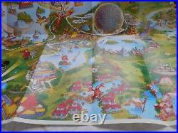 Vintage Walt Disney World Resort Poster Map Characters 39 x 27