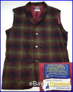 Vntg 60s Walt Disney Productions Disneyland Frontierland Pendleton Vest Men's L