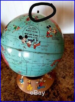 Vtg 1950 Rand McNally Walt Disney World Globe Rare Soviet Union With Characters