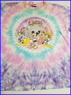 Vtg 90s Disney Mickey Mouse Single Stitch All Over Print Shirt Size 2XL Tye Dye