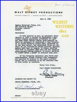 WALT DISNEY Document Vintage Original ROY Signed letter contract Autograph Land
